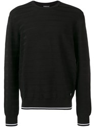 Emporio Armani Striped Panel Jumper Black