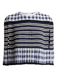 Sonia Rykiel Pleated Knitted Gingham Cape Blue White