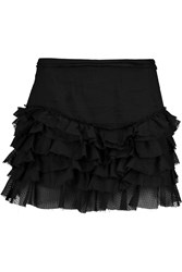 Isabel Marant Tiered Laddered Cotton Mini Skirt Black