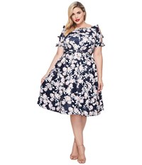 Unique Vintage Plus Size Bow Dress Navy Floral Women's Dress