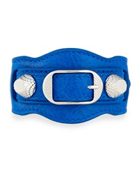 Balenciaga Giant 12 Leather Buckle Bracelet Blue
