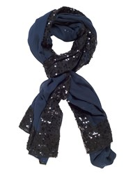Chesca Chiffon Shawl With Sequin Detail Blue