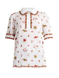 Andrew Gn Floral Embroidered Silk Blend Polo Shirt White Multi