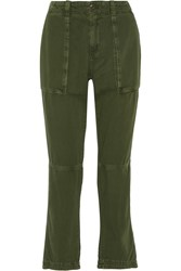 Current Elliott The Industrial Cotton Twill Straight Leg Pants Green