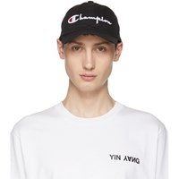 Champion Reverse Weave Black Large Logo Baseball Cap