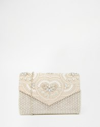Aldo Envelope Clutch With All Over Embellishment Nude Combo Beige