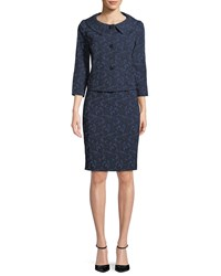 Albert Nipon Webbed Lace Skirt W Jacket Blue