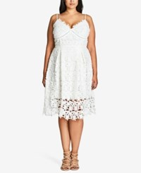 City Chic Plus Size Trendy So Fancy Lace Dress Ivory