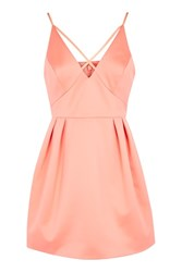 Topshop Petite Cross Front Prom Dress Coral