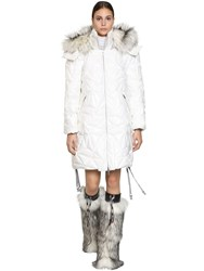 Byblos Long Quilted Pvc Down Jacket White