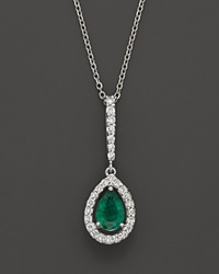 Bloomingdale's Emerald And Diamond Pear Shaped Pendant In 14K White Gold Multi