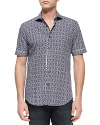 Bogosse Mini Print Short Sleeve Sport Shirt Blue Pattern
