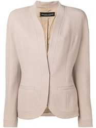 Jean Louis Scherrer Vintage Collarless Blazer Nude And Neutrals