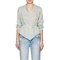 Giada Forte Floral Embroidered Cotton Silk Blouse Lt. Blue