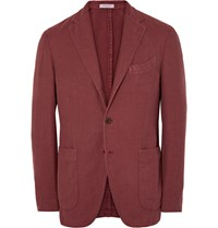 Boglioli Brick Slim Fit Cotton And Linen Blend Hopsack Blazer Red