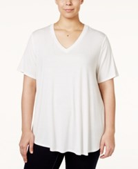 Stoosh Plus Size V Neck Basic T Shirt Off White