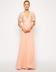 Asos Flutter Sleeve Beaded Maxi Dress Pink