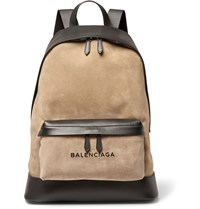 Balenciaga Leather And Suede Backpack Brown