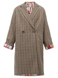 Stella Mccartney Prince Of Wales Checked Double Breasted Wool Coat Grey Multi