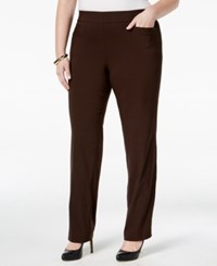 Jm Collection Plus Size Pull On Bootcut Pants Only At Macy's Espresso Roast