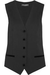 Dolce And Gabbana Velvet Trimmed Twill Polka Dot Embroidered Crepe Vest Black