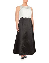 Xscape Evenings Embellished Lace Trimmed Cropped Top And Skirt Set Ivory Black