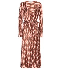 Diane Von Furstenberg Polka Dot Silk Wrap Dress Brown