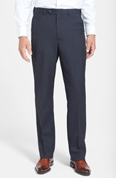 Men's Berle Self Sizer Waist Tropical Weight Flat Front Trousers Navy