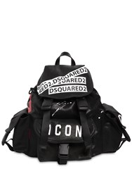 Dsquared Icon Printed Waxed Denim Backpack Black