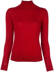 Theory Funnel Neck Jumper Red