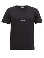 Saint Laurent Logo Print Cotton T Shirt Black