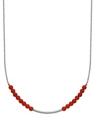 Lord And Taylor Red Agate Sterling Silver Necklace