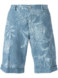 Etro Floral Print Chinos Shorts Blue
