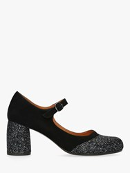 Chie Mihara Mona Block Heel Ankle Strap Court Shoes Black Suede