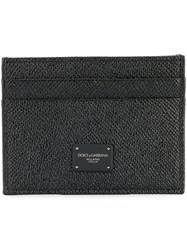 Dolce And Gabbana Logo Plaque Card Holder Calf Leather Black