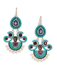 Kenneth Jay Lane Blue Chandelier Earrings Gold Multi