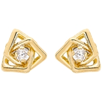 Unbranded 9Ct Yellow Gold Cubic Zirconia Triple Square Stud Earrings