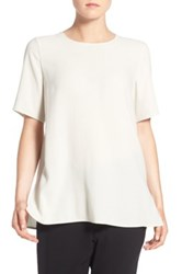 Eileen Fisher Silk Crepe Round Neck Boxy Top White