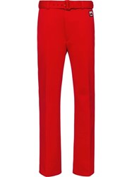 Prada Technical Jersey Trousers Red