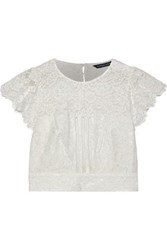 Marissa Webb Imani Open Back Cropped Corded Lace Top White