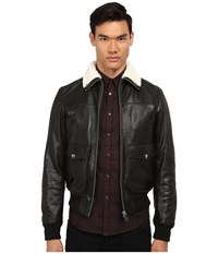Just Cavalli Leather Bomber W Shearling Collar Black