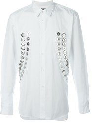 Comme Des Gara Ons Homme Plus Cut Out Snap Button Shirt White