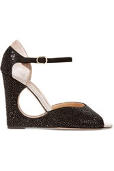 Valentino Crystal Embellished Leather Wedge Sandals Black