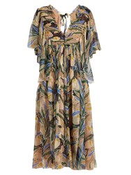 Rochas Tulip Print Silk Chiffon Midi Dress Multi