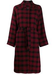 Red Valentino Belted Checked Coat Red