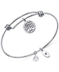 Unwritten Family Tree Charm And Crystal 8Mm Bangle Bracelet In Stainless Steel