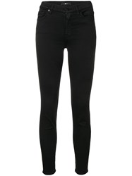 7 For All Mankind Skinny Cropped Jeans Black