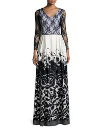Melissa Masse Lace Top V Neck Maxi Dress Lace Splatter