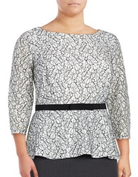 Alex Evenings Plus Three Quarter Sleeve Sequined Lace Peplum Blouse White Black