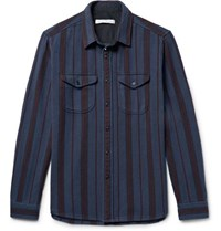 Outerknown Happy Slim Fit Striped Organic Cotton Twill Shirt Navy